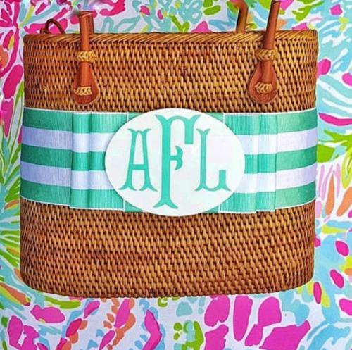 Bosom Buddy Monogrammed Large Oval Bali Bag  Apparel & Accessories > Handbags > Shoulder Bags
