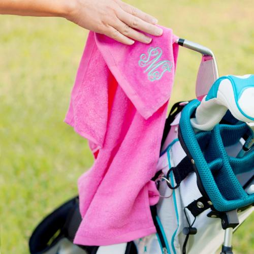 Monogrammed Hot Pink Golf Towel  Sporting Goods > Outdoor Recreation > Golf > Golf Towels