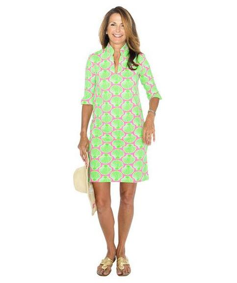 Sailor-Sailor Pink and Lime Scallop Shell Seaport Shift Dress  Apparel & Accessories > Clothing > Dresses > Day Dresses