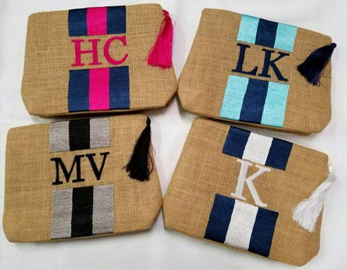 Monogrammed Jute Bag with tassel  Apparel & Accessories > Handbags > Clutches & Special Occasion Bags