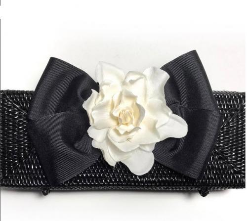 Rectangular Clutch With Gardenia and Bow Black Clutch with Gardenia and Bow Apparel & Accessories > Handbags > Clutches & Special Occasion Bags
