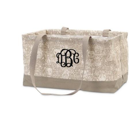 Monogrammed Petite Rectangle Crunch Tote Lion in Khaki  Baby & Toddler