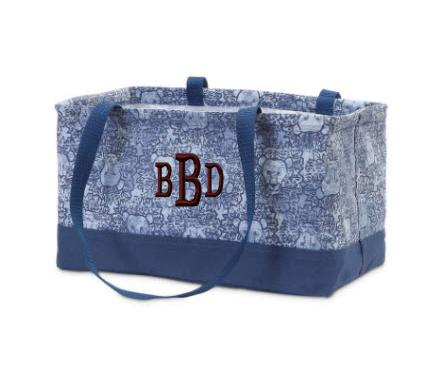 Monogrammed Petite Rectangular Crunch Tote Blue Lions   Luggage & Bags > Shopping Totes