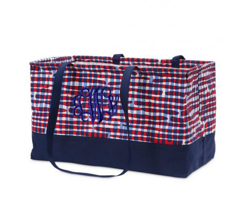 Monogrammed Americana Rectangle Crunch Tote   Luggage & Bags > Shopping Totes