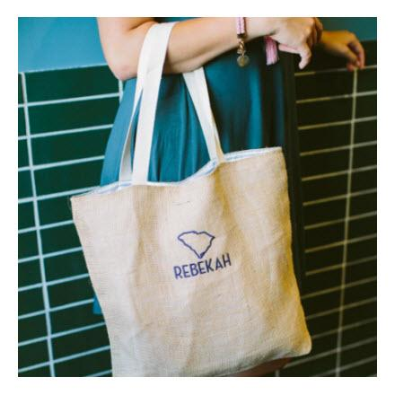 Monogrammed Jute Everyday Tote Bag   Apparel & Accessories > Handbags > Tote Handbags