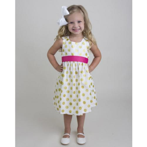 Gold Dot Dress Pink Sash  Apparel & Accessories > Clothing > Baby & Toddler Clothing > Baby & Toddler Dresses
