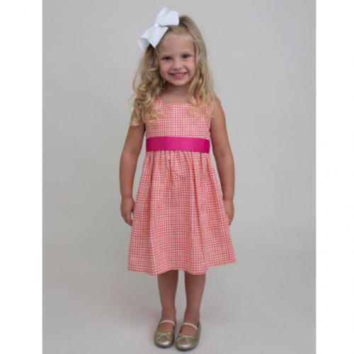 Personalized Tangerine Gingham Sash Dress  Apparel & Accessories > Clothing > Baby & Toddler Clothing > Baby & Toddler Dresses