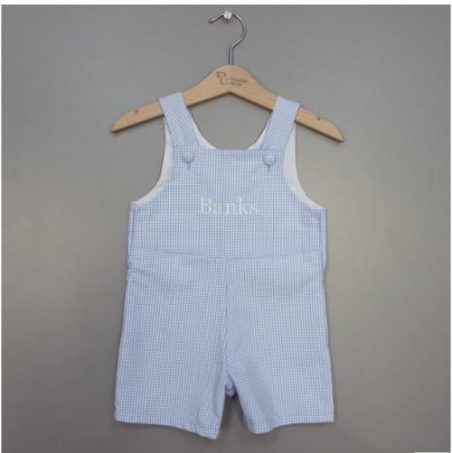 Personalized Blue Seersucker Shortall  Apparel & Accessories > Clothing > Baby & Toddler Clothing > Baby & Toddler Outfits