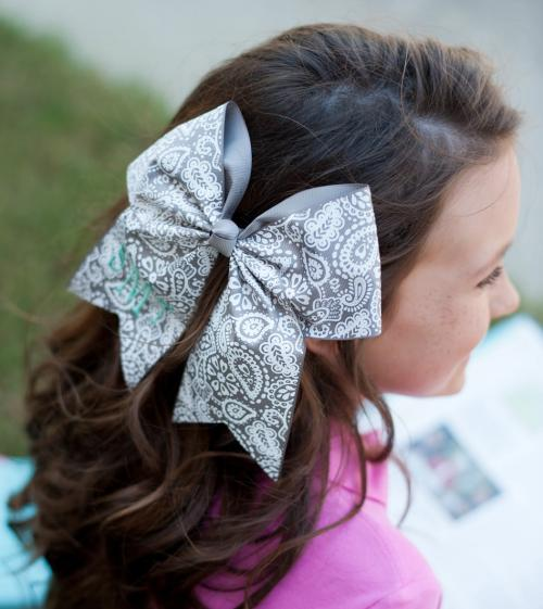 Monogrammed Girls Parker Paisley Hair Bow  Apparel & Accessories > Clothing Accessories > Hair Accessories