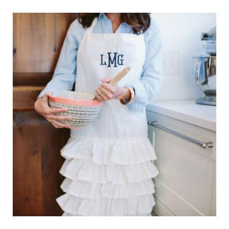 Monogrammed Cream Ruffle Apron   Apparel & Accessories > Clothing Accessories > Aprons