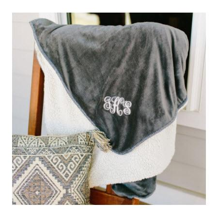 Monogrammed Grey Fleece and Sherpa Blanket   Home & Garden > Linens & Bedding > Bedding > Blankets > Throws