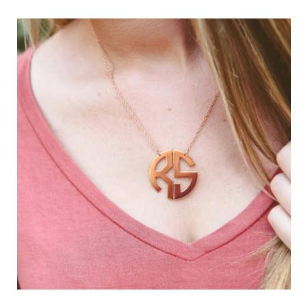 Monogrammed Medium Circle Filigree Necklace in Rose Gold   Apparel & Accessories > Jewelry > Necklaces