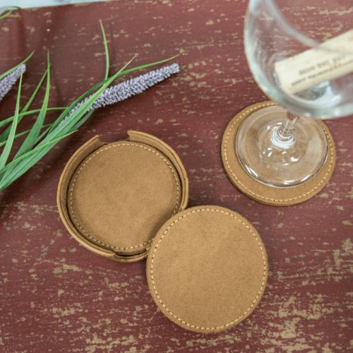 Personalized Suede Italian Leather Coaster Set  Home & Garden > Kitchen & Dining > Barware > Coasters