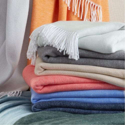 Matouk Pezzo Brushed Cotton Throw Plain  Home & Garden > Linens & Bedding > Bedding > Blankets > Throws