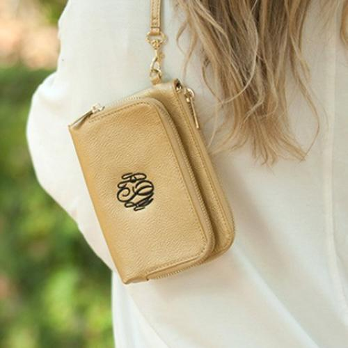 Gold Vegan Leather Monogrammed Wristlet  Apparel & Accessories > Handbags > Wristlets