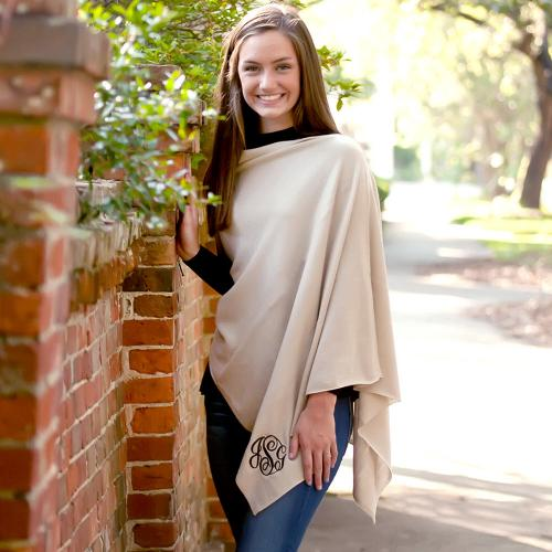 Monogrammed Creme Soft Chelsea Poncho  Apparel & Accessories > Clothing > Outerwear > Coats & Jackets > Capes & Ponchos
