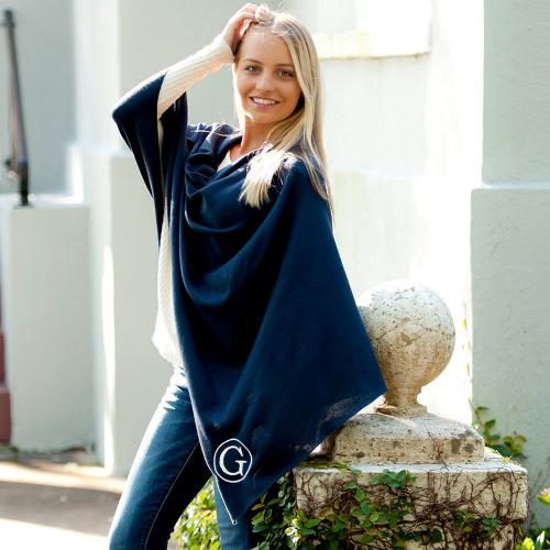 Monogrammed Navy Soft Chelsea Poncho  Apparel & Accessories > Clothing > Outerwear > Coats & Jackets > Capes & Ponchos