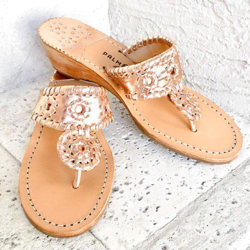 Palm Beach Rose Gold Mid Wedge Ladies Sandals  Apparel & Accessories > Shoes > Sandals > Thongs & Flip-Flops