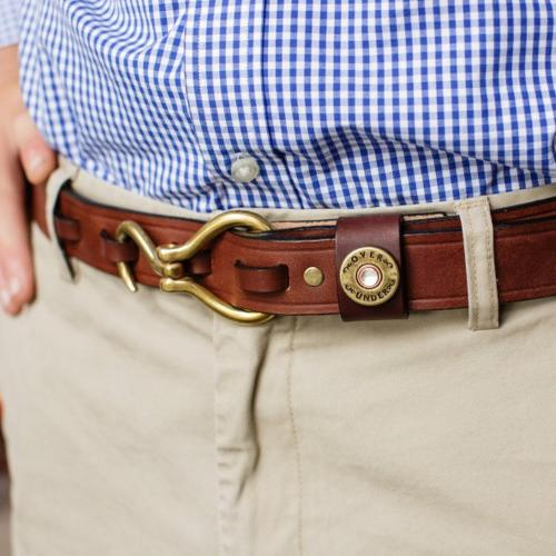 Personalized Men's Hoof Pick Chestnut Brown Leather Belt  Apparel & Accessories > Clothing Accessories > Belts