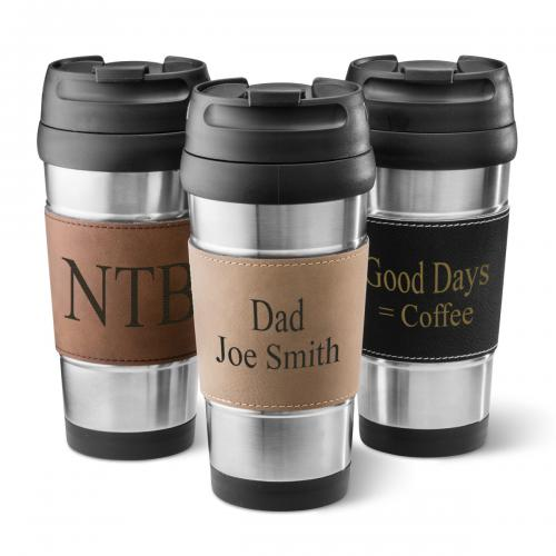 Personalized Ultra-Leather Wrapped Stainless Steel Tumbler  Home & Garden > Kitchen & Dining > Tableware > Drinkware > Tumblers