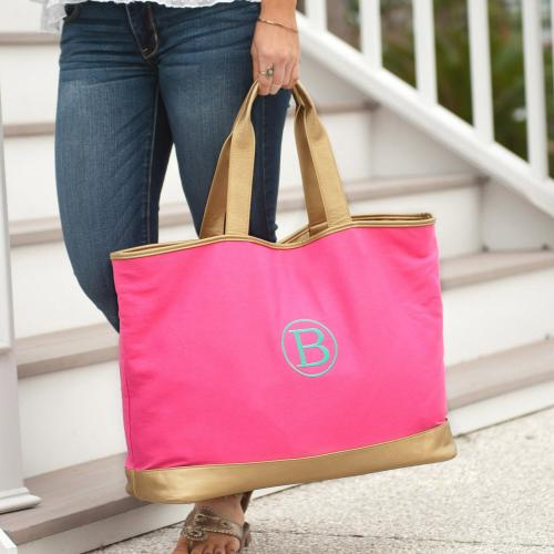 Personalized Hot Pink Canvas Cabana Tote  Apparel & Accessories > Handbags > Tote Handbags
