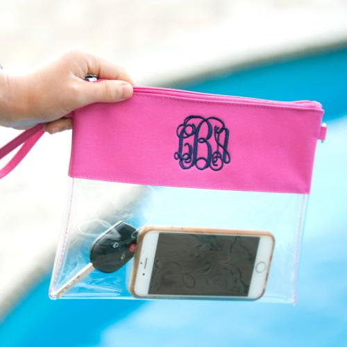 Personalized Clear Crossbody Hot Pink Trimmed Bag  Apparel & Accessories > Handbags > Cross-Body Handbags