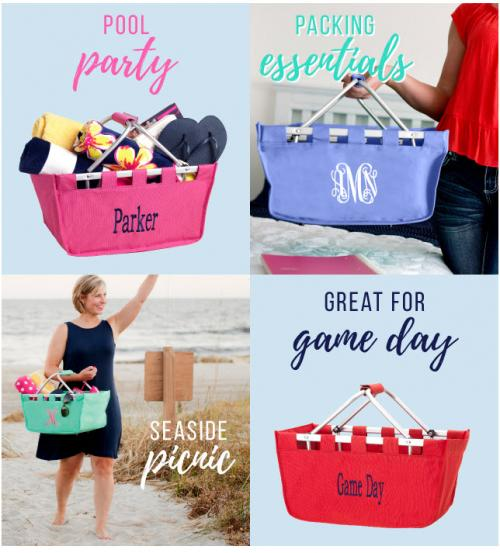 Monogrammed Market Shopping Totes  Home & Garden > Household Supplies > Storage & Organization > Utility Baskets