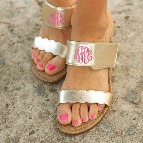 Monogrammed Gold Wedge Vegan Leather Sandals  Apparel & Accessories > Shoes > Sandals > Slide Sandals