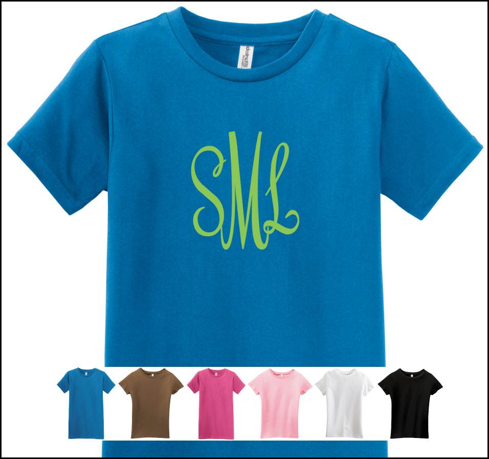 monogrammed t shirts girls slim fit at the pink monogram