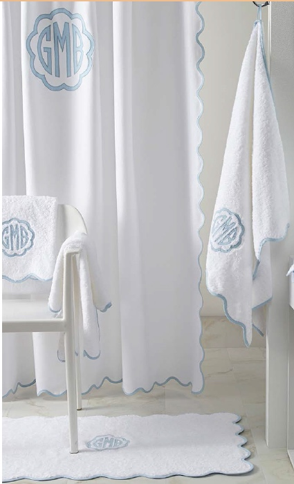 le scallop monogrammed shower curtain at the pink monogram