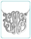 monogrammed script necklace on a split chain from the pink monogram