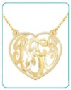 monogrammed cut out heart necklace from the pink monogram