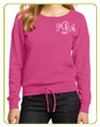 monogrammed juniors sweatshirt in pink grey and black