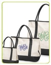 monogrammed natural canvas boat bag in small medium and large