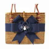 Small Rectangle Bag Navy Bow And Enamel Bee