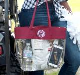 Clear Stadium Tote Trimmed In Garnet