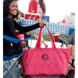 Personalized Red Scattered Dot Ultimate Tote