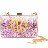 Monogrammed Sparkle Bag Pink And Gold