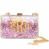 Monogrammed Sparkle Bag Pink And Gold
