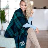 Monogrammed Navy And Green Plaid Kennedy  . . .