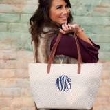 Monogrammed Tan Diamond Charlotte Tote Purse