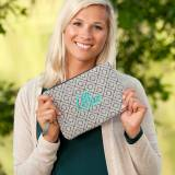 Monogrammed Grey Diamond Wristlet Clutch