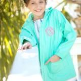 Personalized Childs Mint Green Rain Jacket  . . .