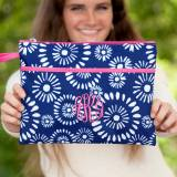 Personalized Navy Riley Zip Pouch Wristlet