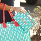 Personalized Mint Seahorse Zip Pouch Wristlet