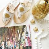 White With Gold Shell Palm Beach Sandals
