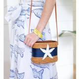 Charlotte Crossbody Bag With Navy & White  . . .