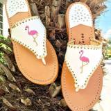 Palm Beach Classic Flamingo Sandals White  . . .