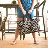 Monogrammed Leopard Wild Side Open Top Tote