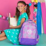 Monogrammed Lila Tile Print Backpack